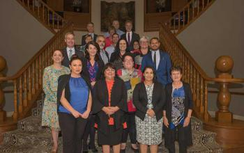Front row (L-R) – Natalie Lewis, Cheryl Axleby, Melissa Clarke, Vicki O'Donnell Second row (L-R): Hon Michelle Lensink MLC, Hon Jacquie Petrusma MP, Cindy Berwick, Jonathan Ford Third row (L-R): David O'Loughlin, Trevor Pearce, Muriel Bamblett, Katrina Fanning Fourth row (L-R): Rachel Stephen-Smith MLA, David Warriner, Ngaree Ah Kit MLA Fifth row (L-R): Tony Buti MLA, Pat Turner AM, Senator the Hon Nigel Scullion Sixth row (L-R): John Paterson