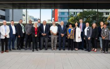 Members of the National Co-design Group with Minister Wyatt and Senior Advisory Group co-chairs Professor Tom Calma AO and Professor Dr Marcia Langton AM.