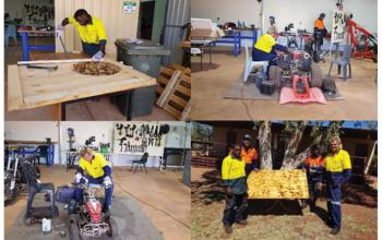 Laverton CDP participants working as a team across table construction, carpentry, bike mechanics and cleaning/maintenance around community.