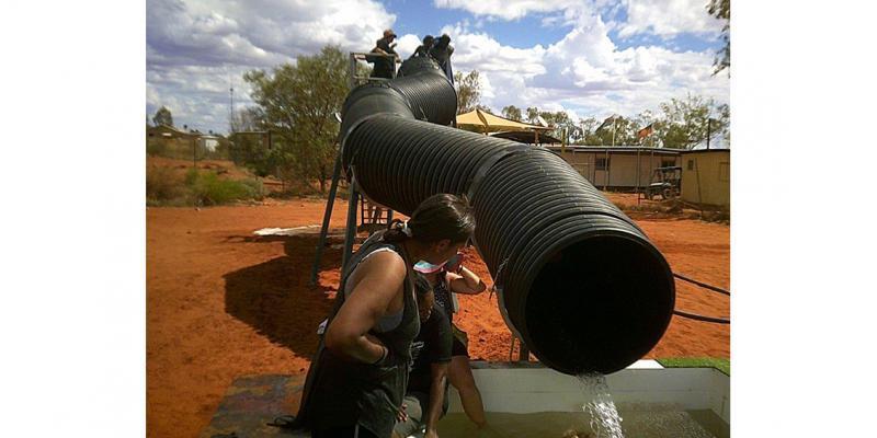 Making a big splash in Punmu, WA (Photo courtesy of the Punmu Corporation)