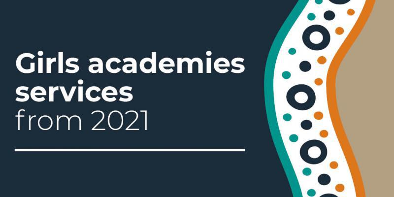 NIAA logo in background with text overlaid Girls academies services from 2021