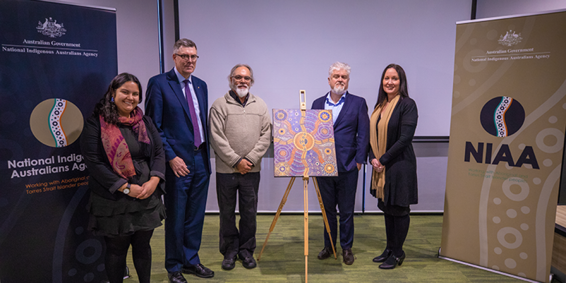 Moana Prescott, Ray Griggs, Ian Anderson and Andrea Kelly at the launch of the National Indigenous Australians Agency.