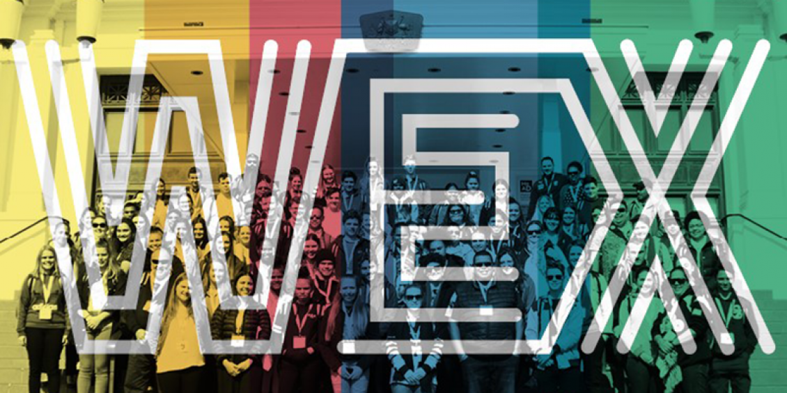 Many young people stand on the steps of a building. The image is overlayed with the colours yellow, red, blue and green and the word WEX with letters made from multiple white lines in parallel.